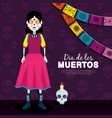 catrina and skull with candle to day of the dead vector image vector image