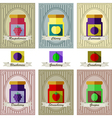 color set of different kinds of jams with inking vector image vector image