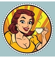 Comic young beautiful woman drinking coffee vector image