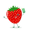 cute strawberry cartoon character with a vector image vector image