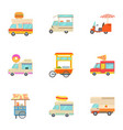 different food truck icons set cartoon style vector image vector image