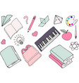 different school supplies vector image
