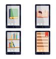 e-book reader e-reader flat icons and symbols set vector image vector image