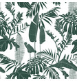elegant seamless pattern with green line leaves vector image vector image