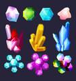 gemstones cartoon crystals rock stones and quartz vector image