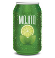 green tin can with mojito text lime slice vector image vector image
