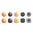 igtv modern 3d and flat icons set vector image vector image
