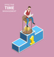 isometric flat concept of effective time vector image