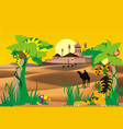 landscape-fortress in the desert palm and wild vector image