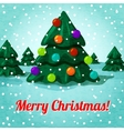 Merry Christmas greeting card with cute christmas vector image