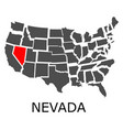 nevada state on usa map vector image vector image