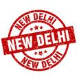 new delhi red round grunge stamp vector image
