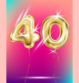 number forty gold foil balloon on gradient vector image vector image