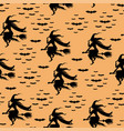 pattern seamless with silhouette halloween witch vector image