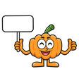 pumpkin character picket and thumb up gesture vector image