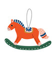 rocking horse christmas tree toy cute new year vector image vector image