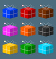 set colored gift boxes with bow vector image