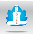 silhouette meditating person in lotus vector image