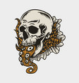 skull and octopus tail vector image vector image