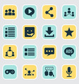 social icons set with communication sticker form vector image vector image