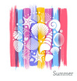 summer card with white sea shells vector image vector image