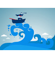surfing businessman looking success amid the waves vector image