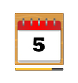 The fifth day in the calendar vector image