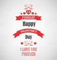 Valentine retro poster with red ribbons template vector image vector image