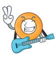 with guitar onion ring mascot cartoon vector image
