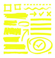 yellow highlighter lines arrows and frame boxes vector image vector image