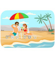 young couple is sitting in sun loungers with vector image