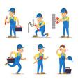 plumber cartoon character set vector image