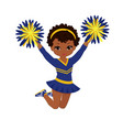 cheerleader in blue and yellow uniform with pom vector image