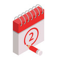 2 calendar date icon isometric style vector image