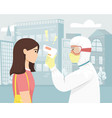 a person in bacterial protection measures the vector image vector image