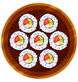 A topview of the sushi at the table vector image vector image