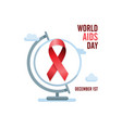 Aids awareness red ribbon and globe english world