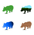 bear silhouette pattern a set of four pieces can vector image vector image
