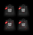 black friday concept set of black paper bags with vector image