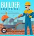builder laying a bricks on construction site vector image vector image
