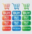 Button buy online shopping cart vector image