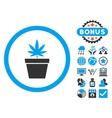 Cannabis Pot Flat Icon with Bonus vector image