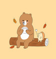 cartoon cute autumn bear and hedgehog camping vect vector image vector image