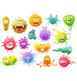 cartoon virus characters bacteria germ monster vector image vector image