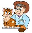 cat at veterinarian vector image