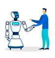 cheerful robot greeting man flat vector image