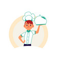 chef boy holding a food tray with metal cover vector image