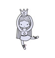 color girl practice ballet with crown and straight vector image vector image