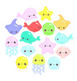 cute colorful cartoon sea animals in circle vector image