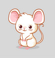cute little mouse is sitting on a gray background vector image